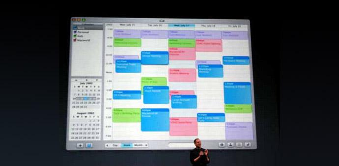 Steve Jobs presenting iCal