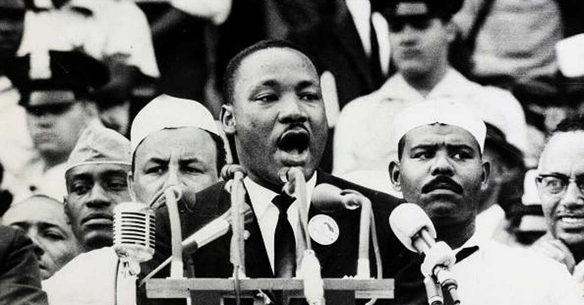 "Martin Luther King Jr. delivers his ""I have a dream"" persuasive speech"